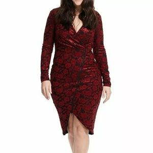 RACHEL Rachel Roy 2X Red Floral Textured Zip Dress